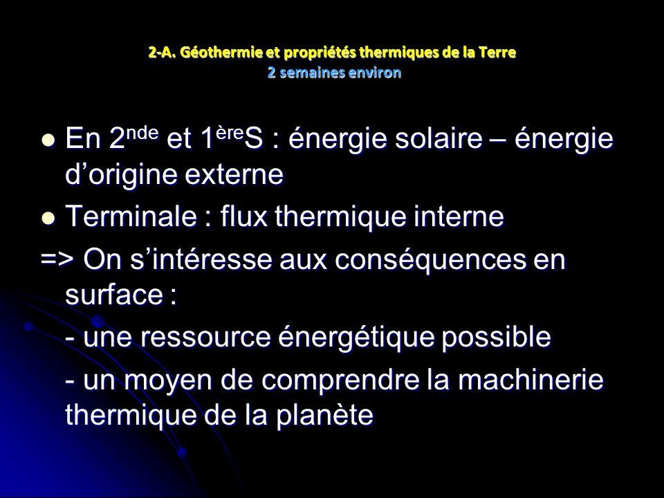 2-A. Géothermie et propriétés thermiques de la Terre 2 semaines environ En 2 nde et 1 ère S : énergie solaire – énergie dorigine externe En 2 nde et 1