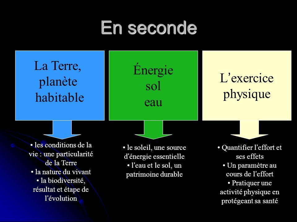 En seconde La Terre, planète habitable Énergie sol eau L exercice physique les conditions de la vie : une particularité de la Terre la nature du vivan