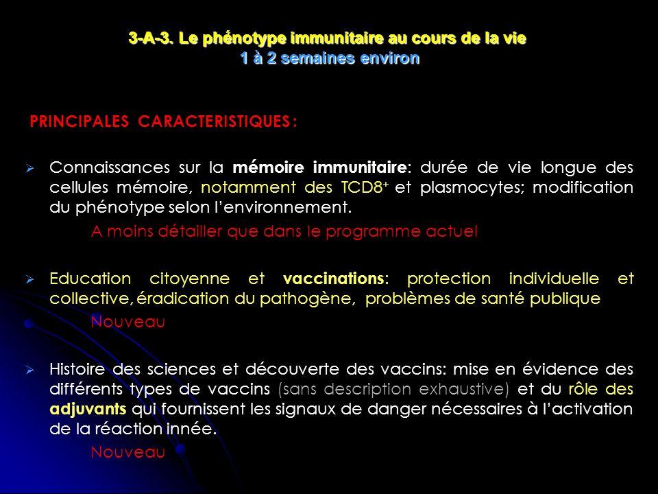 PRINCIPALES CARACTERISTIQUES : Connaissances sur la mémoire immunitaire : durée de vie longue des cellules mémoire, notamment des TCD8 + et plasmocytes; modification du phénotype selon lenvironnement.