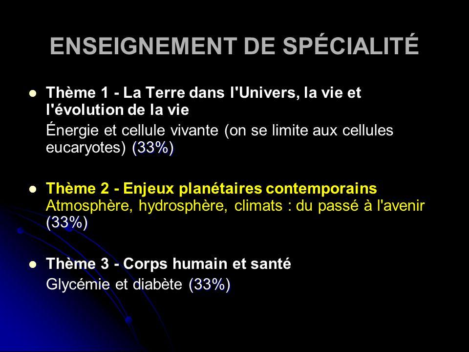 ENSEIGNEMENT DE SPÉCIALITÉ Thème 1 - La Terre dans l Univers, la vie et l évolution de la vie (33%) Énergie et cellule vivante (on se limite aux cellules eucaryotes) (33%) (33%) Thème 2 - Enjeux planétaires contemporains Atmosphère, hydrosphère, climats : du passé à l avenir (33%) Thème 3 - Corps humain et santé (33%) Glycémie et diabète (33%)