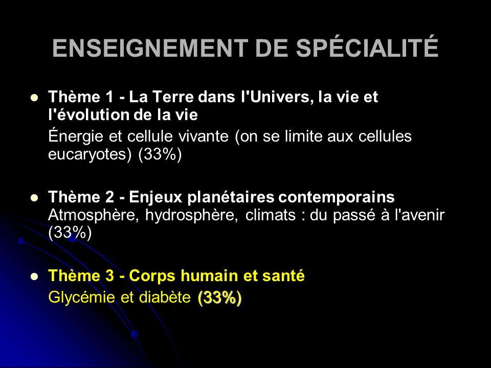 ENSEIGNEMENT DE SPÉCIALITÉ Thème 1 - La Terre dans l'Univers, la vie et l'évolution de la vie Énergie et cellule vivante (on se limite aux cellules eu