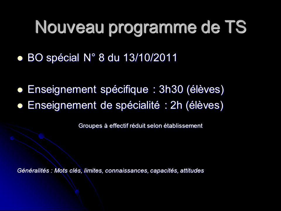 Nouveau programme de TS BO spécial N° 8 du 13/10/2011 BO spécial N° 8 du 13/10/2011 Enseignement spécifique : 3h30 (élèves) Enseignement spécifique :