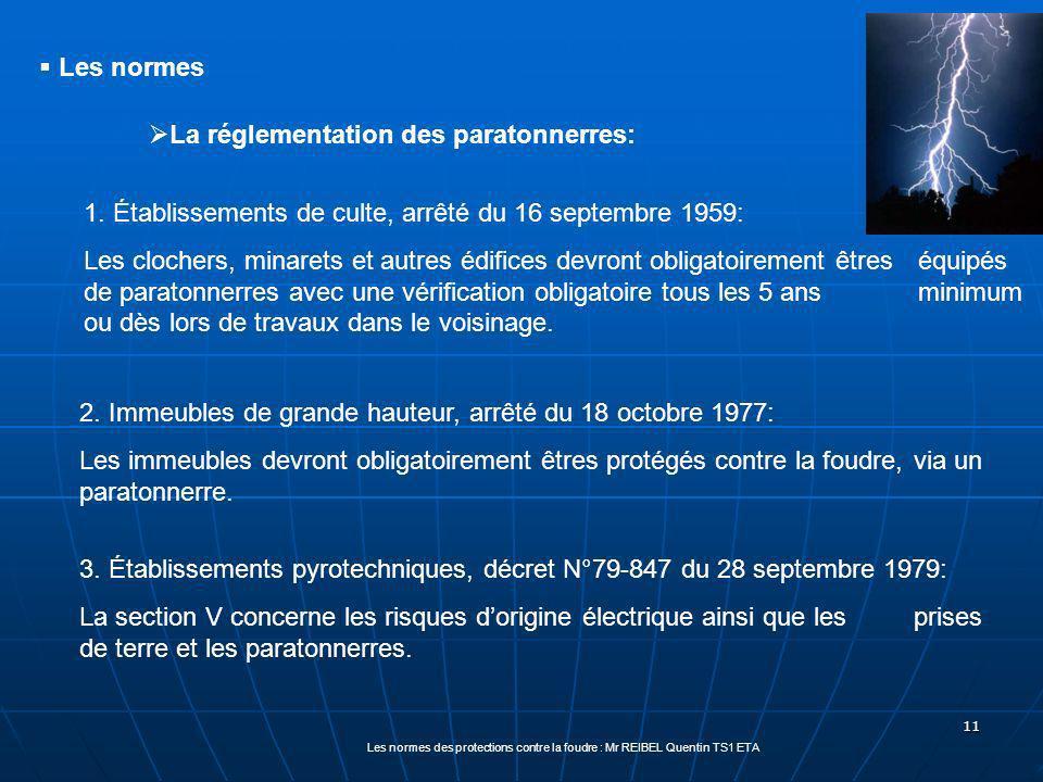 11 La réglementation des paratonnerres: 1.
