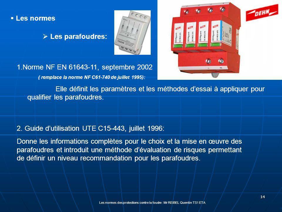 14 Les parafoudres: 1.Norme NF EN 61643-11, septembre 2002 ( remplace la norme NF C61-740 de juillet 1995): Elle définit les paramètres et les méthodes dessai à appliquer pour qualifier les parafoudres.