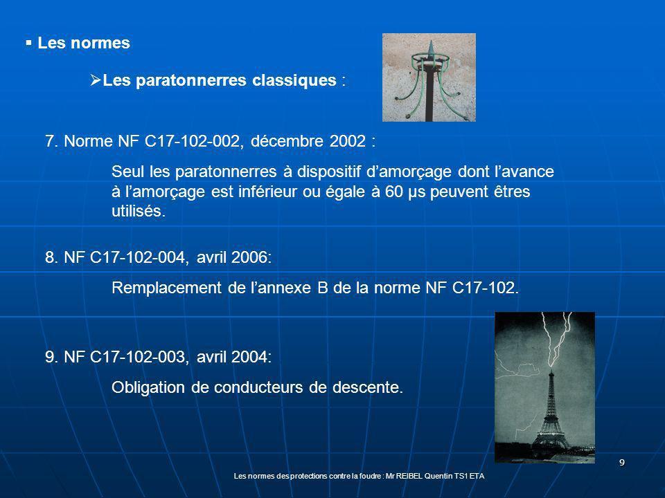 9 7. Norme NF C17-102-002, décembre 2002 : Seul les paratonnerres à dispositif damorçage dont lavance à lamorçage est inférieur ou égale à 60 µs peuve