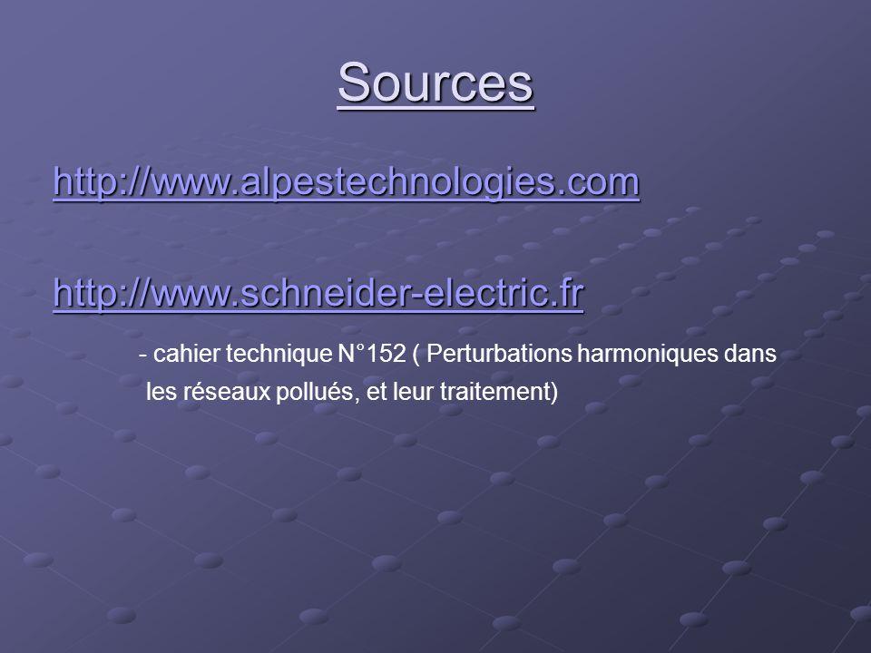 Sources http://www.alpestechnologies.com http://www.schneider-electric.fr - cahier technique N°152 ( Perturbations harmoniques dans les réseaux pollué