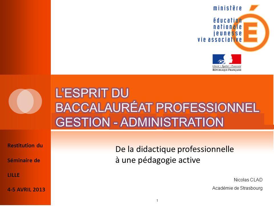 Restitution du Séminaire de LILLE 4-5 AVRIL 2013 De la didactique professionnelle à une pédagogie active 1 Nicolas CLAD Académie de Strasbourg