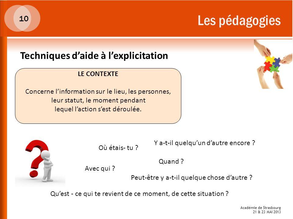 Académie de Strasbourg 21 & 23 MAI 2013 Les pédagogies LE CONTEXTE Concerne linformation sur le lieu, les personnes, leur statut, le moment pendant le