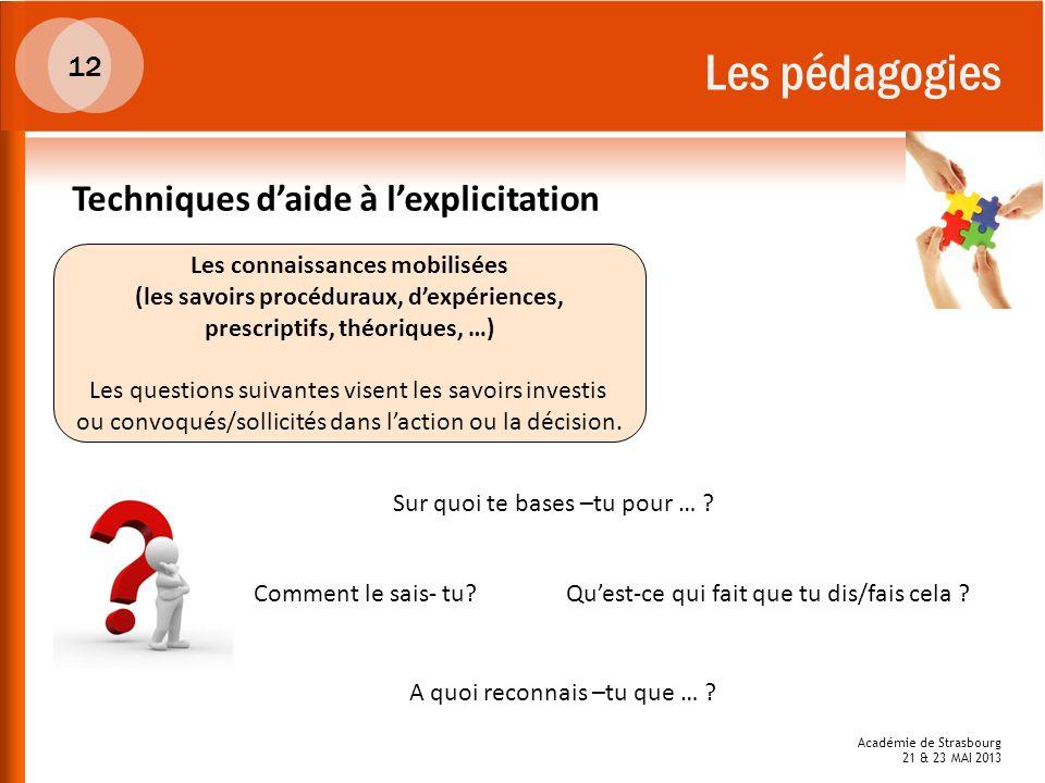 Académie de Strasbourg 21 & 23 MAI 2013 Les pédagogies Les connaissances mobilisées (les savoirs procéduraux, dexpériences, prescriptifs, théoriques,