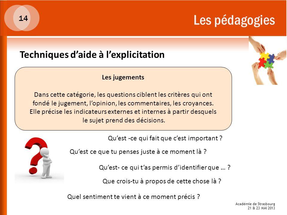 Académie de Strasbourg 21 & 23 MAI 2013 Les pédagogies Les jugements Dans cette catégorie, les questions ciblent les critères qui ont fondé le jugemen