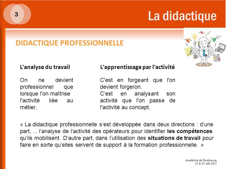 La didactique 3 DIDACTIQUE PROFESSIONNELLE L'analyse du travail On ne devient professionnel que lorsque l'on maîtrise l'activité liée au métier. L'app