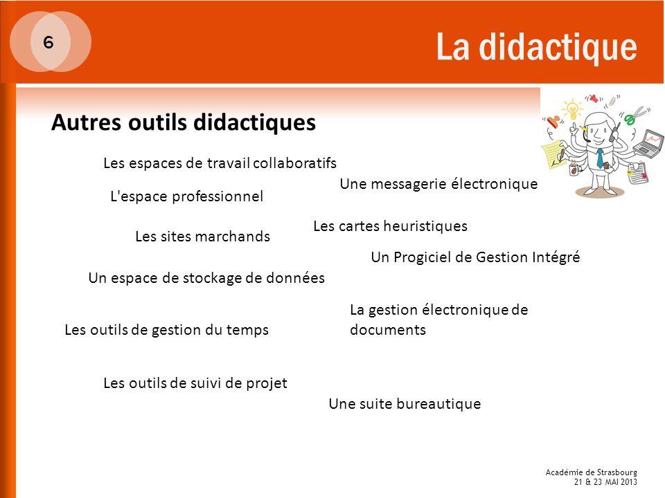 La didactique 6 Autres outils didactiques La gestion électronique de documents L'espace professionnel Un Progiciel de Gestion Intégré Une messagerie é