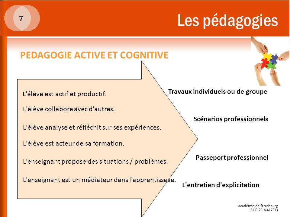 Les pédagogies 7 PEDAGOGIE ACTIVE ET COGNITIVE L'élève est acteur de sa formation. L'élève est actif et productif. L'élève analyse et réfléchit sur se