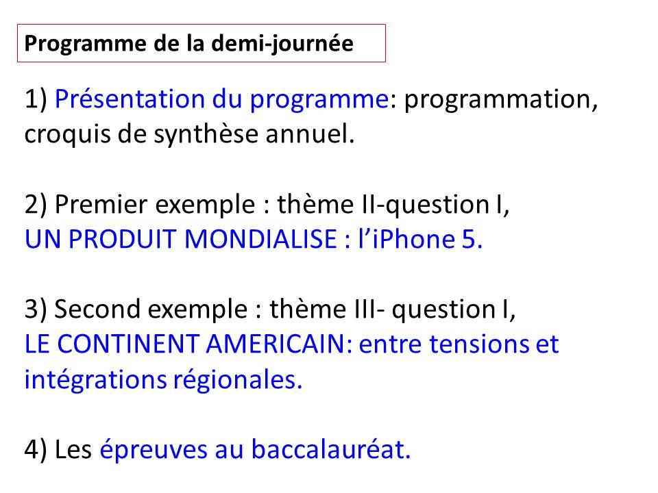 Programme de la demi-journée 1) Présentation du programme: programmation, croquis de synthèse annuel. 2) Premier exemple : thème II-question I, UN PRO