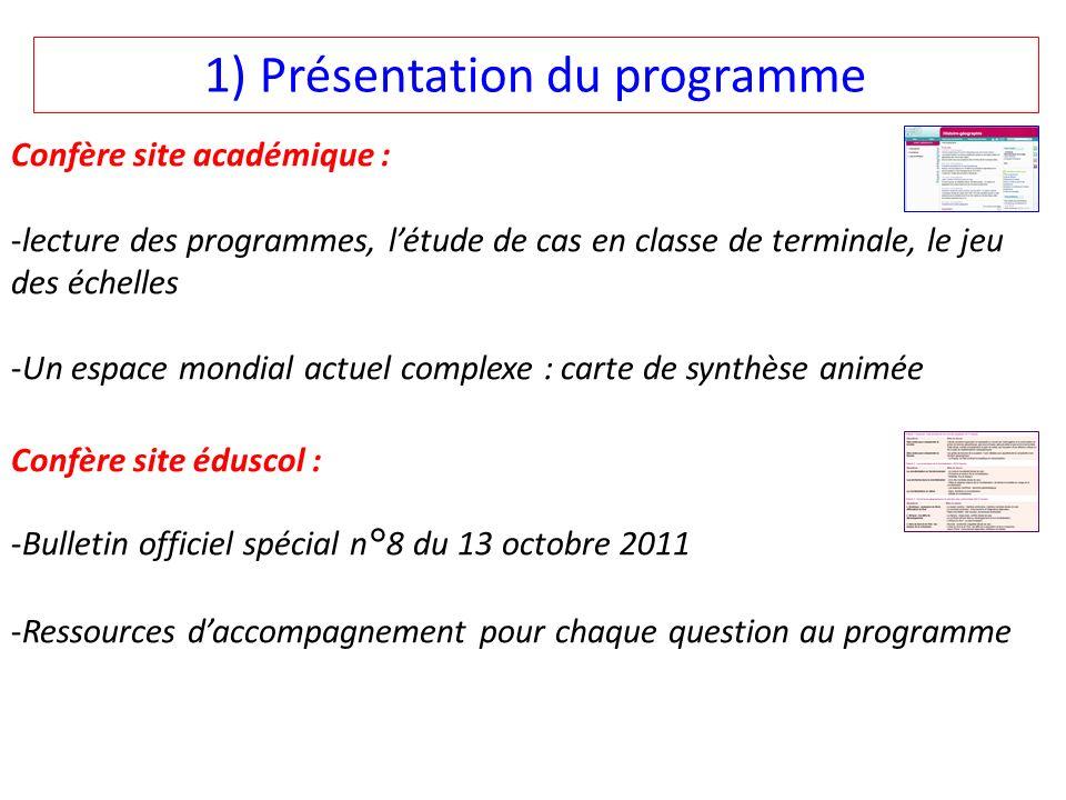 1) Présentation du programme Confère site académique : -lecture des programmes, létude de cas en classe de terminale, le jeu des échelles -Un espace m