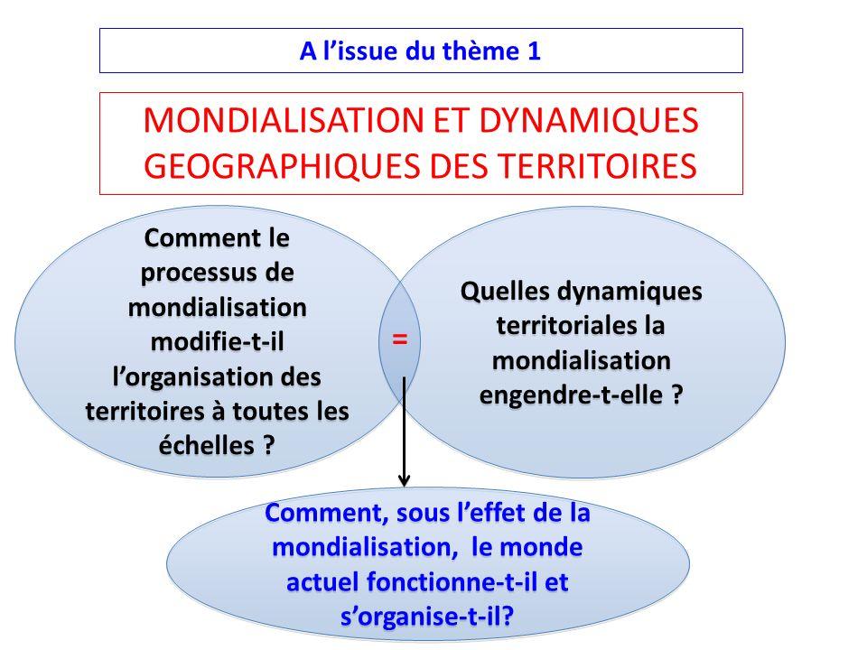 A lissue du thème 1 Comment le processus de mondialisation modifie-t-il lorganisation des territoires à toutes les échelles ? Quelles dynamiques terri