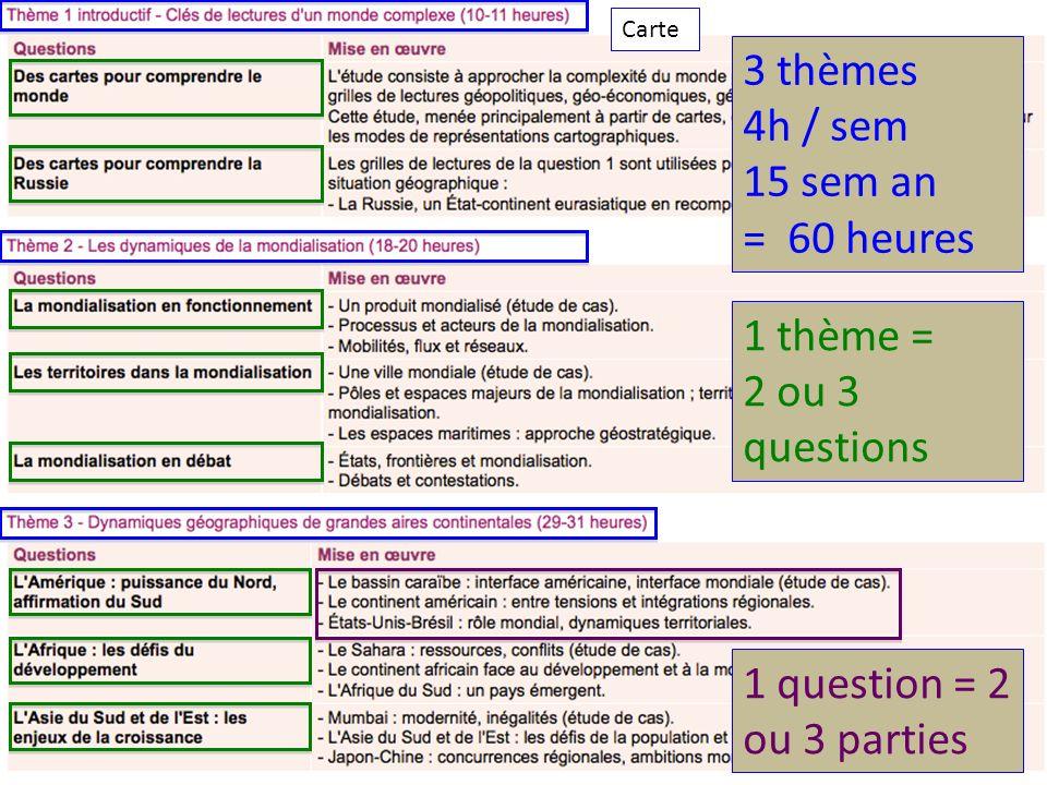 3 thèmes 4h / sem 15 sem an = 60 heures 1 thème = 2 ou 3 questions 1 question = 2 ou 3 parties Carte