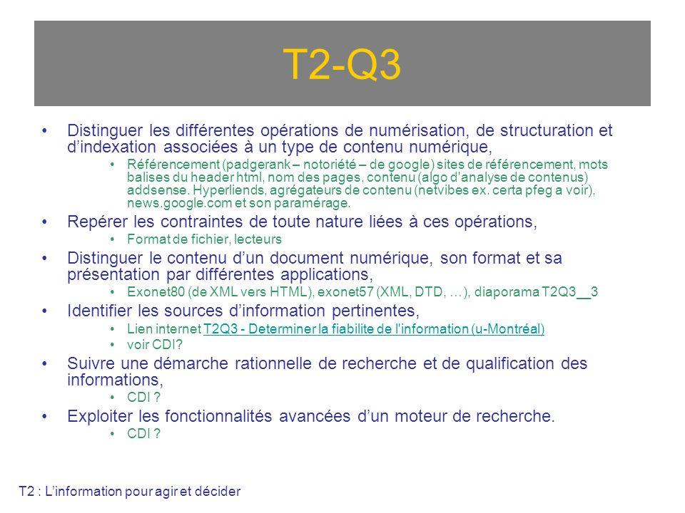 T2-Q3 Distinguer les différentes opérations de numérisation, de structuration et dindexation associées à un type de contenu numérique, Référencement (padgerank – notoriété – de google) sites de référencement, mots balises du header html, nom des pages, contenu (algo d analyse de contenus) addsense.