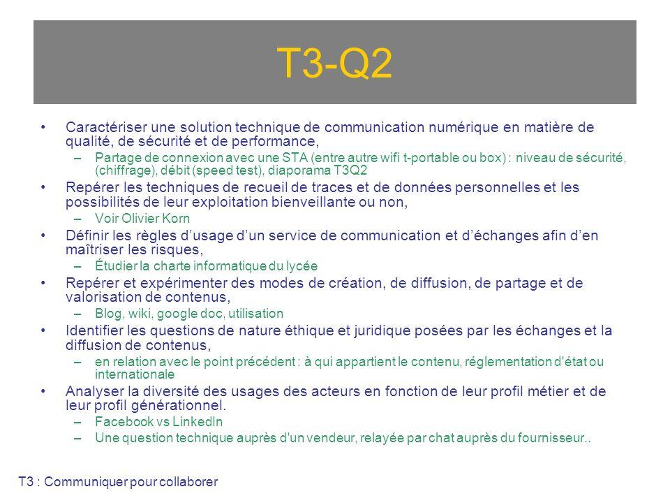 T3-Q2 Caractériser une solution technique de communication numérique en matière de qualité, de sécurité et de performance, –Partage de connexion avec une STA (entre autre wifi t-portable ou box) : niveau de sécurité, (chiffrage), débit (speed test), diaporama T3Q2 Repérer les techniques de recueil de traces et de données personnelles et les possibilités de leur exploitation bienveillante ou non, –Voir Olivier Korn Définir les règles dusage dun service de communication et déchanges afin den maîtriser les risques, –Étudier la charte informatique du lycée Repérer et expérimenter des modes de création, de diffusion, de partage et de valorisation de contenus, –Blog, wiki, google doc, utilisation Identifier les questions de nature éthique et juridique posées par les échanges et la diffusion de contenus, –en relation avec le point précédent : à qui appartient le contenu, réglementation d état ou internationale Analyser la diversité des usages des acteurs en fonction de leur profil métier et de leur profil générationnel.