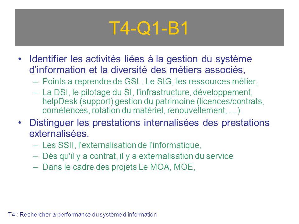 T4-Q1-B1 Identifier les activités liées à la gestion du système dinformation et la diversité des métiers associés, –Points a reprendre de GSI : Le SIG, les ressources métier, –La DSI, le pilotage du SI, l infrastructure, développement, helpDesk (support) gestion du patrimoine (licences/contrats, cométences, rotation du matériel, renouvellement, …) Distinguer les prestations internalisées des prestations externalisées.