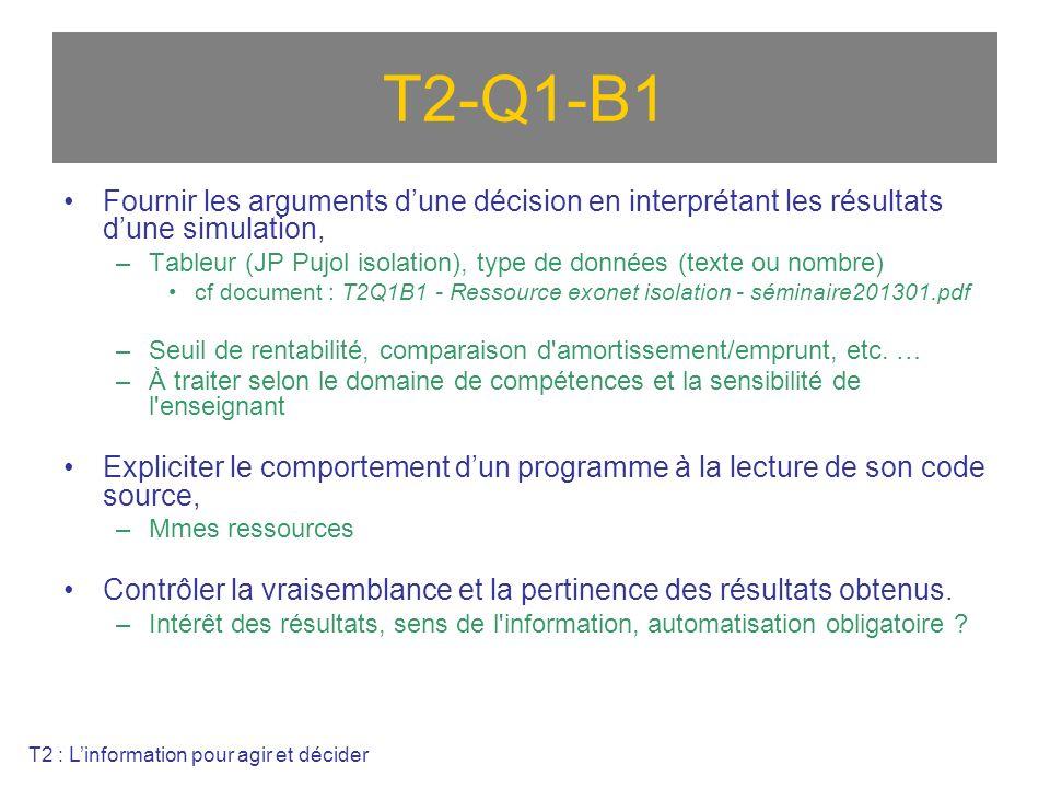T2-Q1-B1 Fournir les arguments dune décision en interprétant les résultats dune simulation, –Tableur (JP Pujol isolation), type de données (texte ou nombre) cf document : T2Q1B1 - Ressource exonet isolation - séminaire201301.pdf –Seuil de rentabilité, comparaison d amortissement/emprunt, etc.