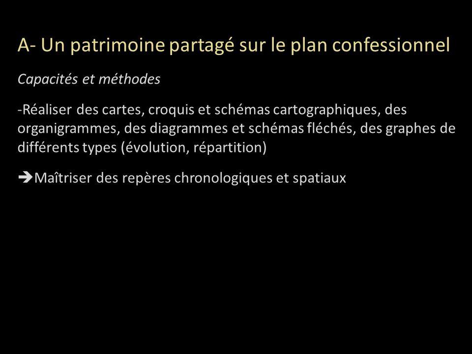 A- Un patrimoine partagé sur le plan confessionnel Capacités et méthodes -Réaliser des cartes, croquis et schémas cartographiques, des organigrammes,