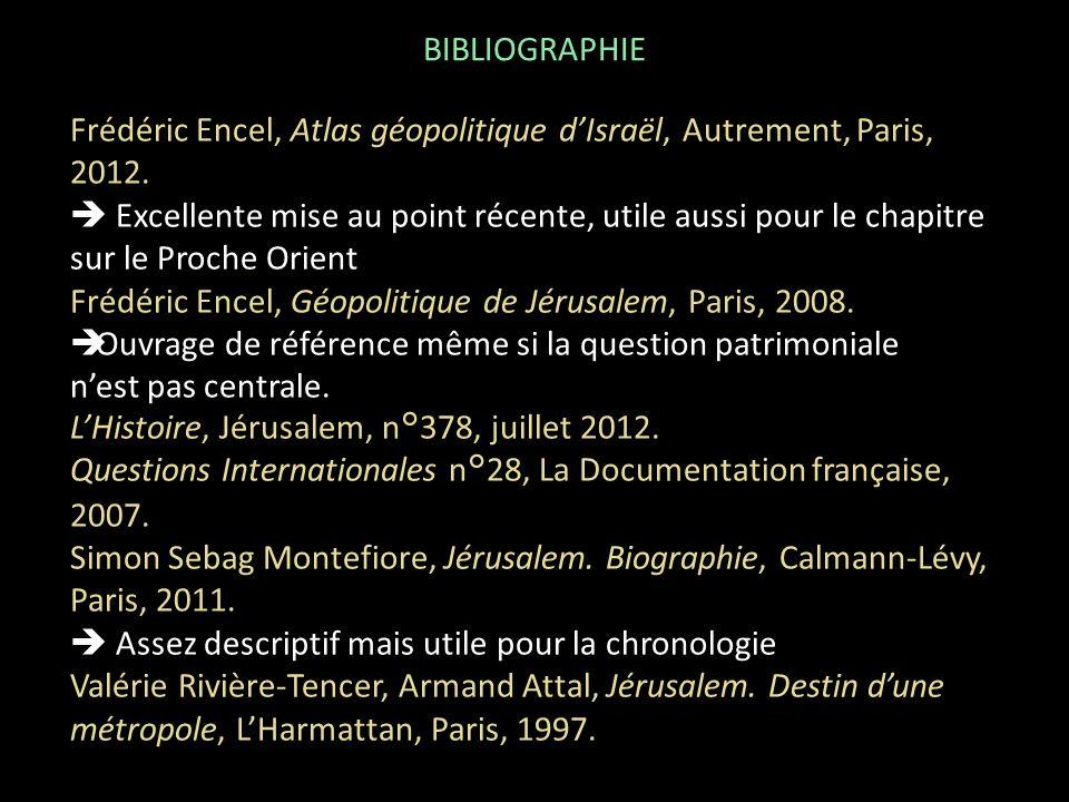 Frédéric Encel, Atlas géopolitique dIsraël, Autrement, Paris, 2012. Excellente mise au point récente, utile aussi pour le chapitre sur le Proche Orien