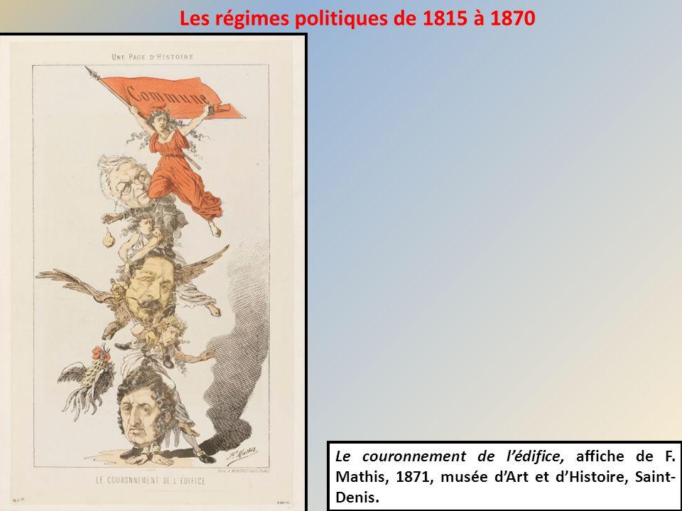 Le couronnement de lédifice, affiche de F. Mathis, 1871, musée dArt et dHistoire, Saint- Denis. Les régimes politiques de 1815 à 1870