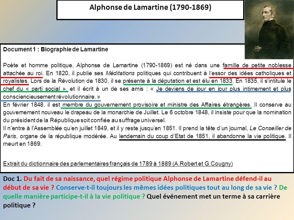 Alphonse de Lamartine (1790-1869) Document 1 : Biographie de Lamartine Poète et homme politique, Alphonse de Lamartine (1790-1869) est né dans une fam