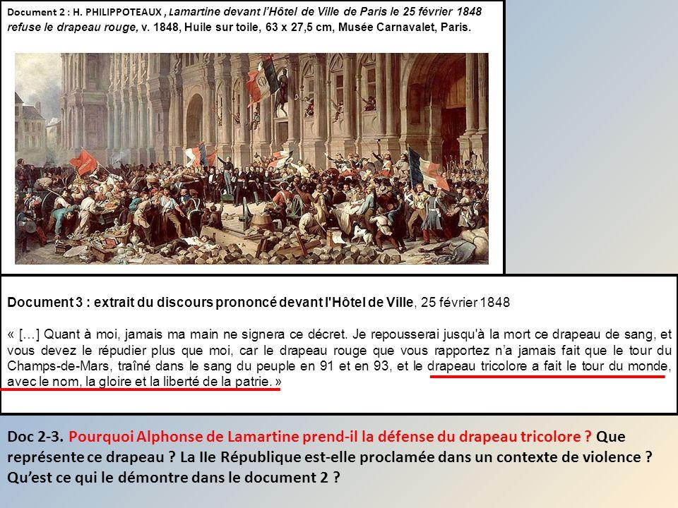Document 2 : H. PHILIPPOTEAUX, L amartine devant lHôtel de Ville de Paris le 25 février 1848 refuse le drapeau rouge, v. 1848, Huile sur toile, 63 x 2