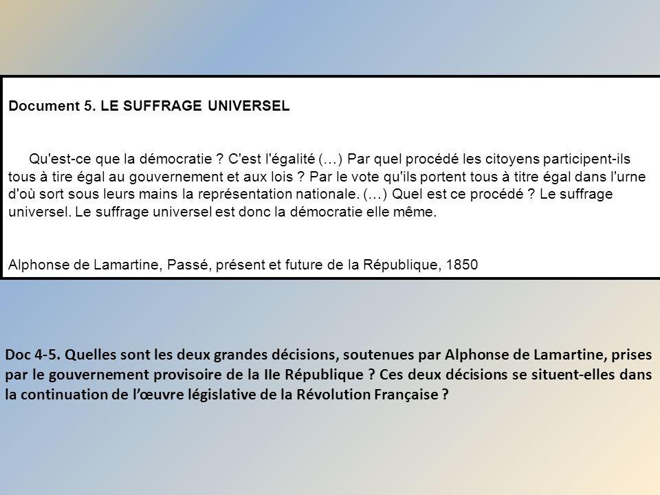 Doc 4-5. Quelles sont les deux grandes décisions, soutenues par Alphonse de Lamartine, prises par le gouvernement provisoire de la IIe République ? Ce