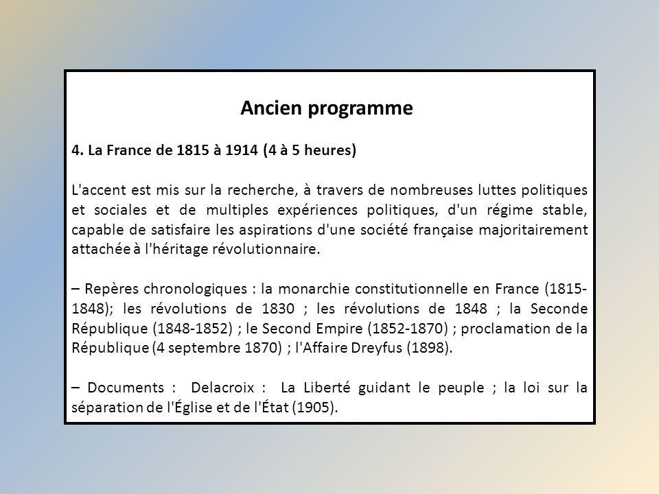 Ancien programme 4. La France de 1815 à 1914 (4 à 5 heures) L'accent est mis sur la recherche, à travers de nombreuses luttes politiques et sociales e