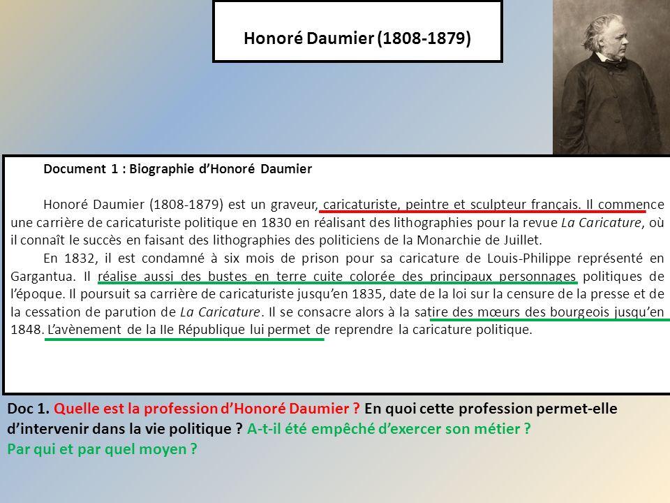 Honoré Daumier (1808-1879) Document 1 : Biographie dHonoré Daumier Honoré Daumier (1808-1879) est un graveur, caricaturiste, peintre et sculpteur fran