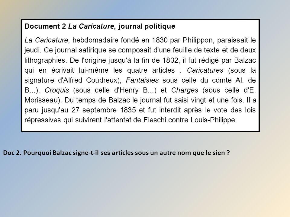 Document 2 La Caricature, journal politique La Caricature, hebdomadaire fondé en 1830 par Philippon, paraissait le jeudi. Ce journal satirique se comp