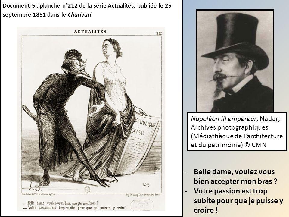 Document 5 : planche n°212 de la série Actualités, publiée le 25 septembre 1851 dans le Charivari -Belle dame, voulez vous bien accepter mon bras ? -V