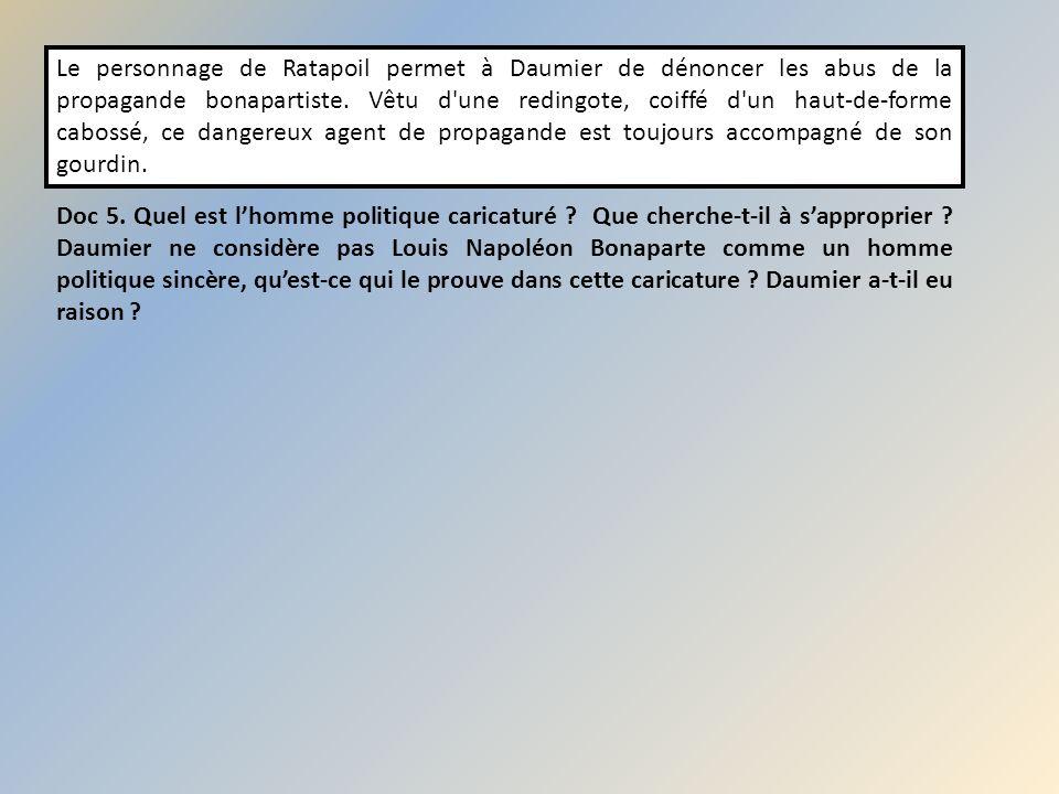 Le personnage de Ratapoil permet à Daumier de dénoncer les abus de la propagande bonapartiste. Vêtu d'une redingote, coiffé d'un haut-de-forme cabossé