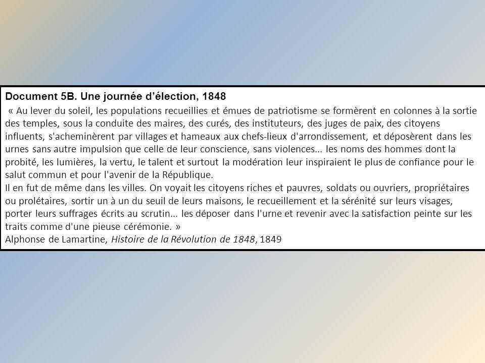Document 5B. Une journée délection, 1848 « Au lever du soleil, les populations recueillies et émues de patriotisme se formèrent en colonnes à la sorti