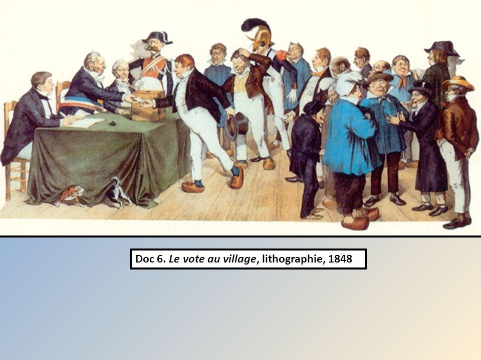 Doc 6. Le vote au village, lithographie, 1848