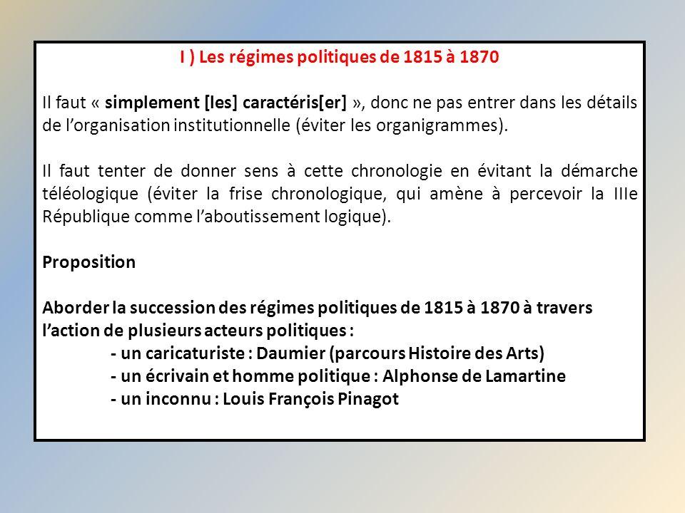 I ) Les régimes politiques de 1815 à 1870 Il faut « simplement [les] caractéris[er] », donc ne pas entrer dans les détails de lorganisation institutio
