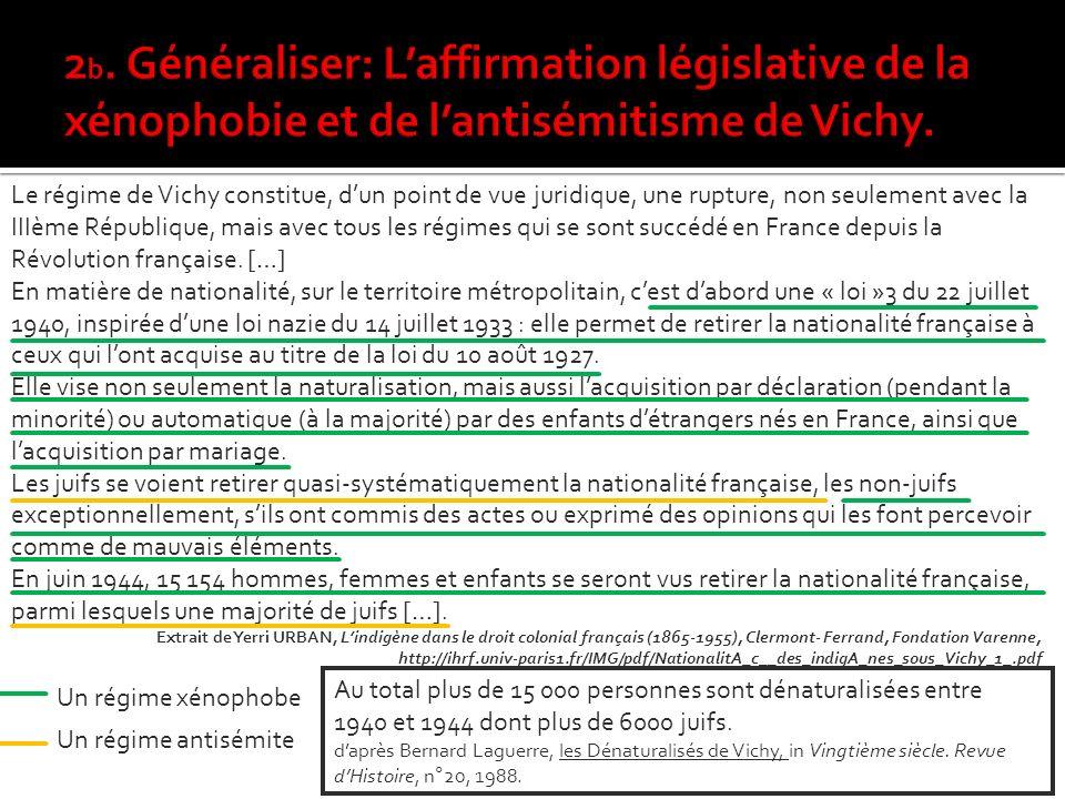 Le régime de Vichy constitue, dun point de vue juridique, une rupture, non seulement avec la IIIème République, mais avec tous les régimes qui se sont succédé en France depuis la Révolution française.