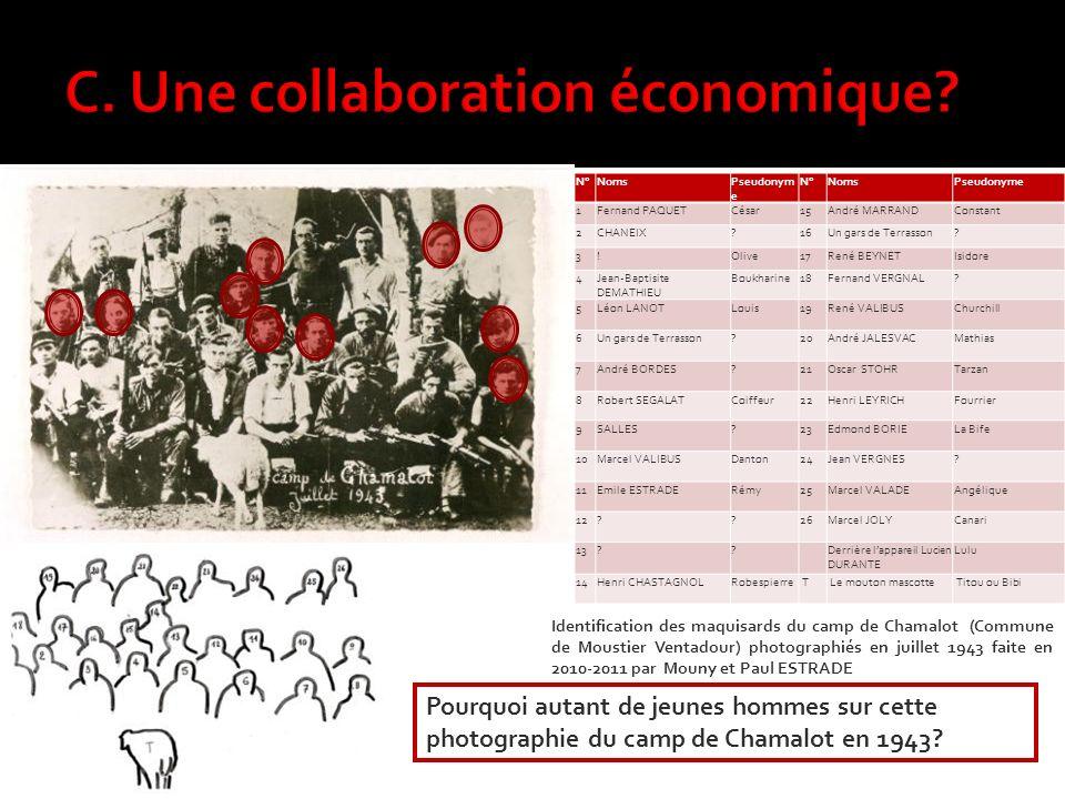 Identification des maquisards du camp de Chamalot (Commune de Moustier Ventadour) photographiés en juillet 1943 faite en 2010-2011 par Mouny et Paul ESTRADE N°NomsPseudonym e N°NomsPseudonyme 1Fernand PAQUETCésar15André MARRANDConstant 2CHANEIX?16Un gars de Terrasson.