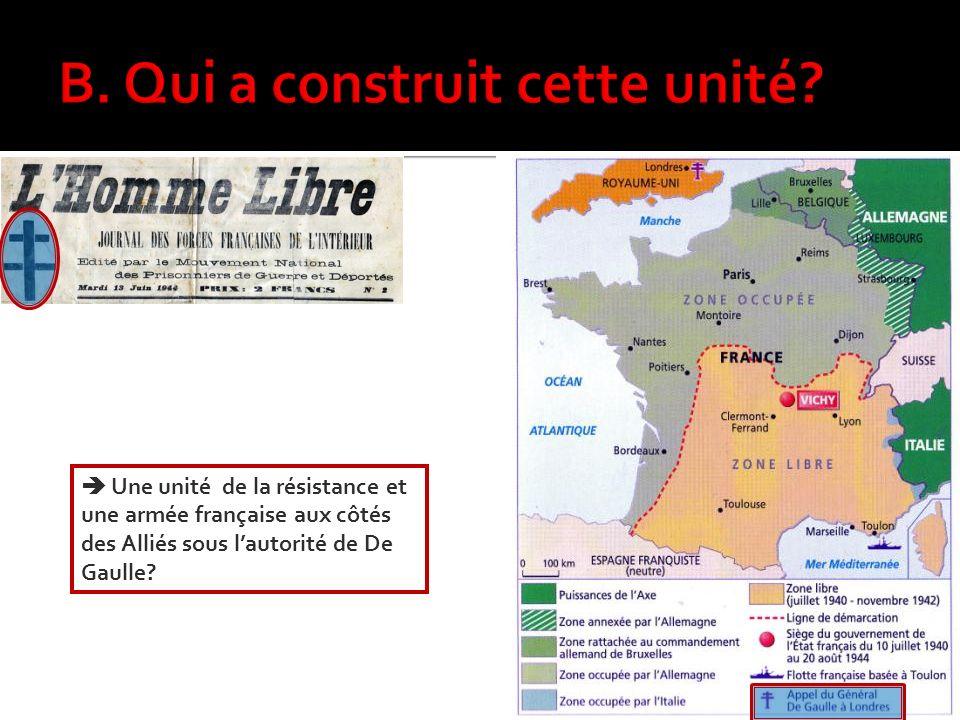 Une unité de la résistance et une armée française aux côtés des Alliés sous lautorité de De Gaulle?