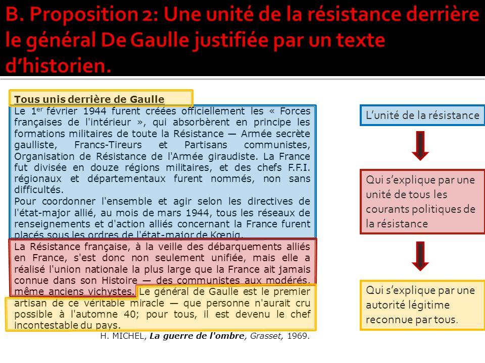 Tous unis derrière de Gaulle Le 1 er février 1944 furent créées officiellement les « Forces françaises de l intérieur », qui absorbèrent en principe les formations militaires de toute la Résistance Armée secrète gaulliste, Francs-Tireurs et Partisans communistes, Organisation de Résistance de l Armée giraudiste.