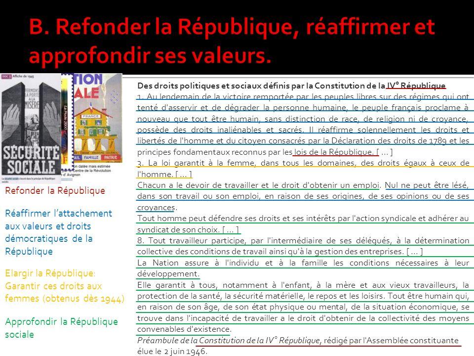 Des droits politiques et sociaux définis par la Constitution de la IV° République 1.