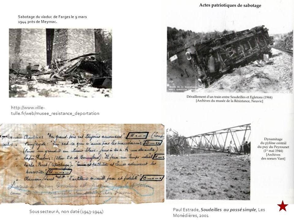 http://www.ville- tulle.fr/web/musee_resistance_deportation Paul Estrade, Soudeilles au passé simple, Les Monédières, 2001 Sabotage du viaduc de Farges le 9 mars 1944 près de Meymac.