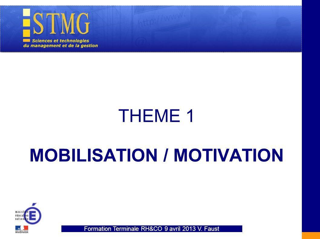THEME 1 MOBILISATION / MOTIVATION Formation Terminale RH&CO 9 avril 2013 V. Faust