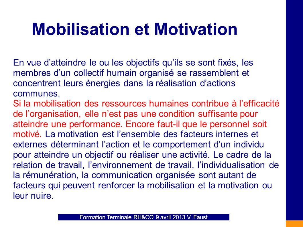 Mobilisation et Motivation En vue datteindre le ou les objectifs quils se sont fixés, les membres dun collectif humain organisé se rassemblent et conc