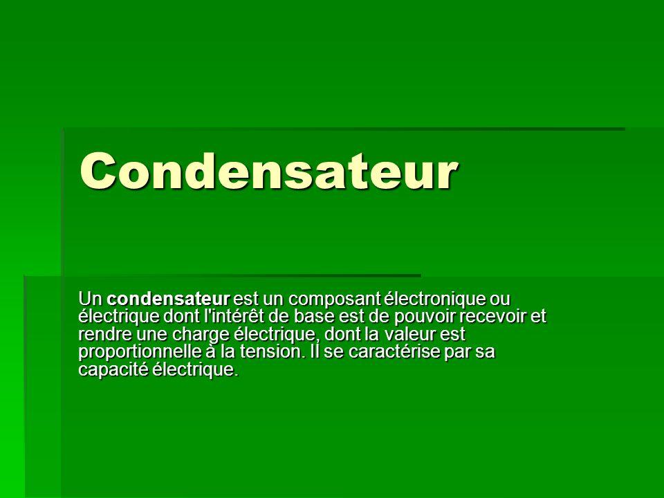Condensateur Un condensateur est un composant électronique ou électrique dont l intérêt de base est de pouvoir recevoir et rendre une charge électrique, dont la valeur est proportionnelle à la tension.