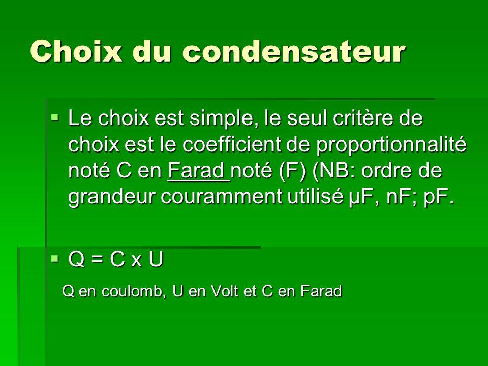 Choix du condensateur Le choix est simple, le seul critère de choix est le coefficient de proportionnalité noté C en Farad noté (F) (NB: ordre de grandeur couramment utilisé μF, nF; pF.