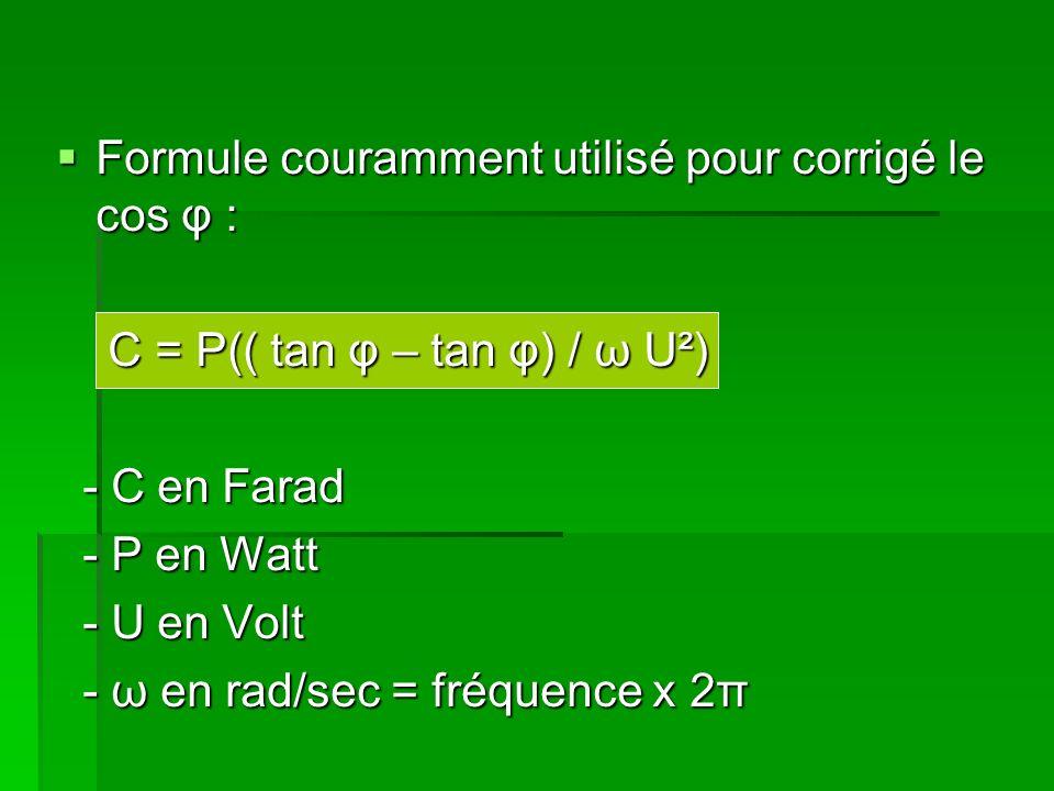 Formule couramment utilisé pour corrigé le cos φ : Formule couramment utilisé pour corrigé le cos φ : C = P(( tan φ – tan φ) / ω U²) C = P(( tan φ – tan φ) / ω U²) - C en Farad - C en Farad - P en Watt - P en Watt - U en Volt - U en Volt - ω en rad/sec = fréquence x 2π - ω en rad/sec = fréquence x 2π